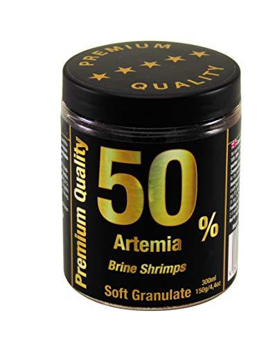 50% Artemia Softgranulat Premium Qualität, Fischfutter Aquarienfische, Pflanzenproteine Vitamine Mineralien, Diskus Kampffische Guppys Welse, Alleinfuttermittel, Hauptfutter Süß-und Meerwasserfische