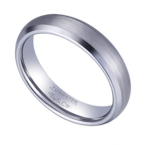 Tungsten Wedding Band Ring 5mm wide for Men Women Comfort Fit Brushed Centre and Bevelled Polished edges Lifetime Satisfaction