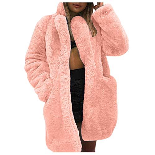 Vrouwen Warm Vest Lange Mouw Pluche Jas Fluffy Faux Bont Vest Winter Warm Blend Overjas Lange Mouw Jas