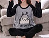 Conjuntos De Lencería para Mujerinvierno Cálido Amantes 'Ropa De Dormir Casual Cartoon Coral Fleece Thick Pyjamas-A8_M