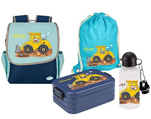 Mein Zwergenland Set 5 Kindergartenrucksack mit Brotdose, Turnbeutel und Trinkflasche Happy Knirps NEXT mit Name Baustelle, 4-teilig, Blau