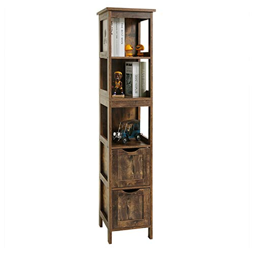 USIKEY 3 Tier Shelf Floor Storage Cabinet with 2 Drawers, 55.7 Inches Tall Wooden Cabinet, Free...