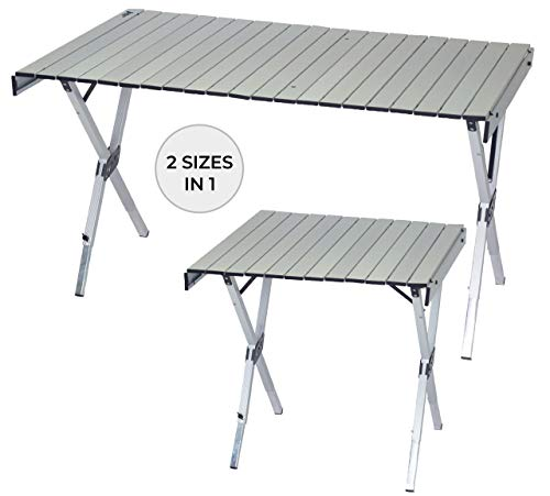 Rio Gear Compact Expandable Outdoor and Camping Aluminum RollTop Heat Dissipating Picnic Table