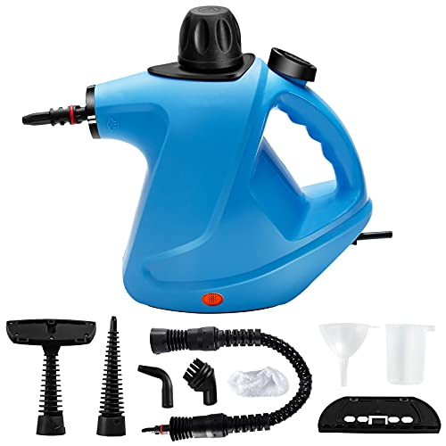 GOFLAME Handheld Steam Cleaner, Pressurized Steam Cleaning Machine with 9-Piece Accessories, Chemical-Free Steam Cleaner Portable, Multipurpose Cleaning for Sofa Carpet Floor Window Car Seat (Blue)