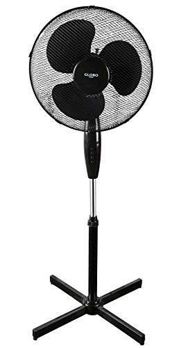Standventilator Ventilator Höhenverstellbar Schwarz Standlüfter Windmaschine 43 cm (3 Stufen, Lüfter, 45 Watt, Ruhiger Lauf, Höhe max 125 cm)