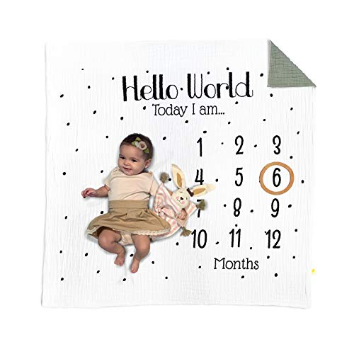 Alevin designs and products Organic Baby Monthly Milestone Blanket Double Sided Blanket/Photography Background/Month Blanket for Baby Pictures/Organic Cotton Blanket/Unisex Blanket Newborn Blanket