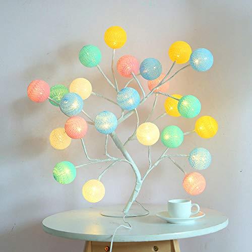 Lámpara de mesa de bolas de algodón color caramelo LED lámpara de árbol de bolas de algodón lámpara de noche de dormitorio es el mejor regalo de Navidad para niños - Multicolor