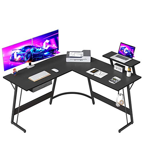 """CubiCubi L-Shaped Desk Computer Corner Desk, 50.8"""" Home Gaming Desk, Office Writing Study Workstation with Large Monitor Stand, Space-Saving, Easy to Assemble"""