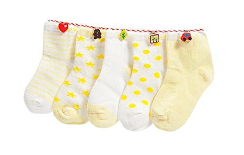 DEBAIJIA Niños Niñas Calcetines de Algodón Cómodo Suave Elasticity Absorber el Sudor primavera verano otoño Color Amarillo 0-1 año (Pack de 5 Pares)