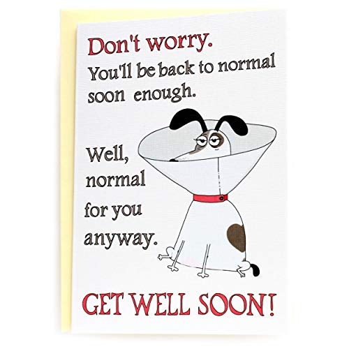 Funny Get Well Card with Cartoon Jack Russell Terrier (Back to Normal), Feel Better Soon Gift, Cute Speedy Recovery Greeting Card