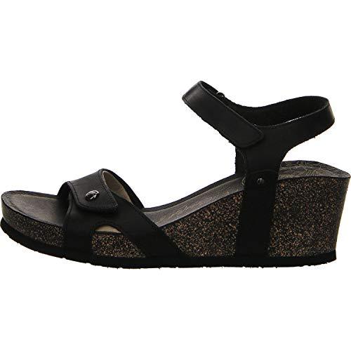 Panama Jack Damen Julia Basics Offene Sandalen mit Keilabsatz, Schwarz (Black), 37 EU