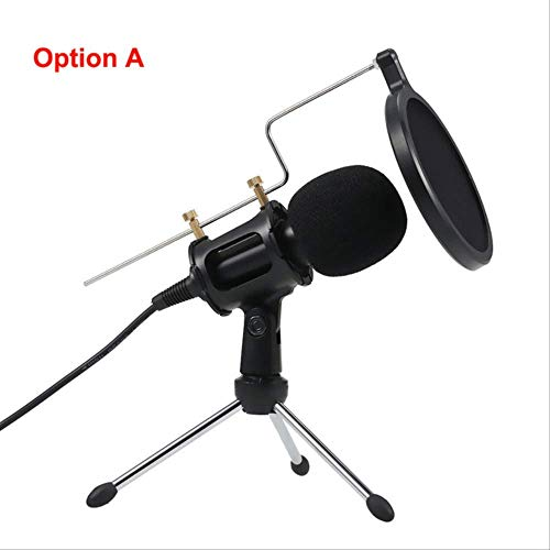 RRYM Micrófonos Micrófono de condensador profesional Micrófono de grabación Micrófonos con soporte de mini micrófono Laptop Pc TabletSilver