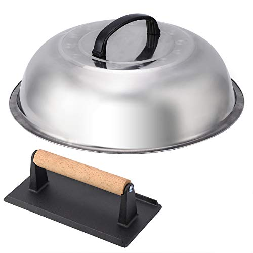NEWANOVI Stainless Steel 12 Inch Basting Cover and Cast Iron Grill Press Kit for Hamburger Bacon Steak