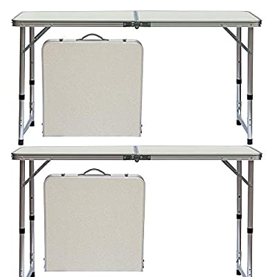 fani 2 Packs Aluminum Folding Camping Table 4 Feet, Adjustable Height 2/3/4 Foot, Lightweight Portable Camping Table Great for Outdoor Cooking Picnic Beach Outdoor, White 48 x 24 inches