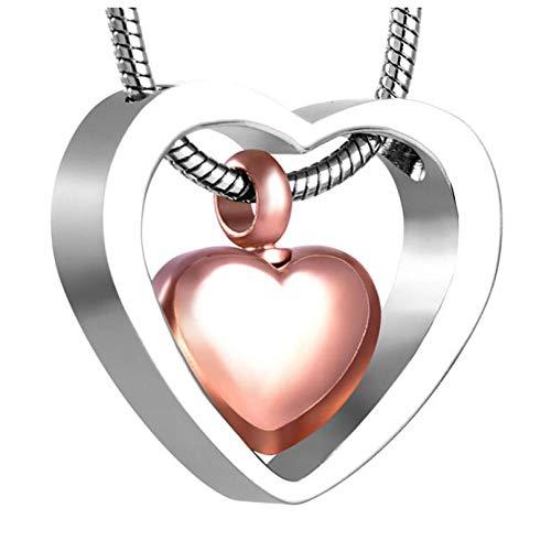 Wxcvz Collar con Colgante para Cenizas Collar De Urna De Recuerdo Pequeño Kit De Relleno De Embudo con Colgante De Cenizas De Cremación De Doble Corazón