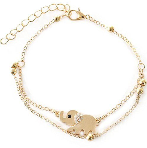 Kanggest Cuentas de Oro y Tobilleras de Elefante Brazalete de Cristal Incrustado Cadena Decorativa Para Adolescentes Mujeres