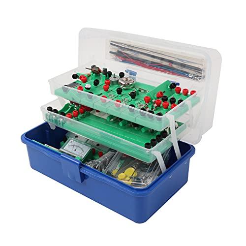 Materiale didattico elettronico, con valigia a tre strati portatile e semplice per esperimenti elettrici