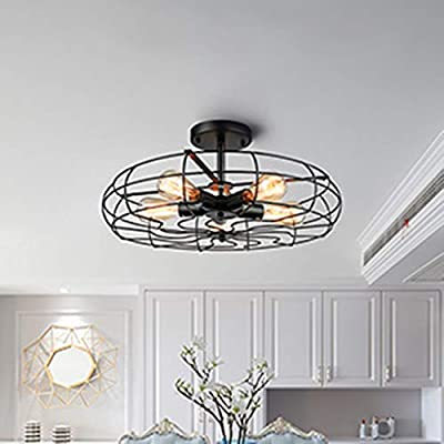 RUXUE Fan Semi Flush Mount Ceiling Light Industrial Barn Close to Ceiling Semi Flush Mount Light Fan Shape Rustic Pendant Light