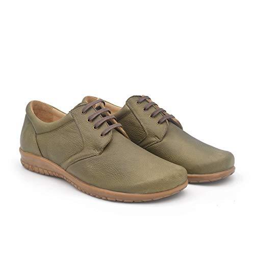 Lima Kaki 43 EU- Zapato clásico Hombre Ancho y cómodo - Piso de Cuero - Plantilla extraíble y recambiable - Piel ecológica sin Cromo - Forrados de Piel - Moda sostenible