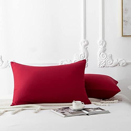 2 Pcs funda de almohada 40x80cm 50x75cm con cremallera 100% microfibra en gris-vino rojo, 2pc 40x80cm, China