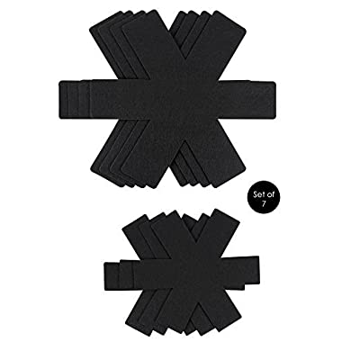 Pot and Pan Protector Pads -Black Felt-Set of 7-Thick and Large-15 inches and 10.2 inches - by Eatery 5
