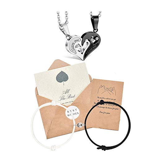 Fiasaso 4Pcs Couples Bracelets Necklace Magnetic Couple Bracelets Matching Set Heart Necklace Matching Friendship Rope Bracelet Set Gift for Women Men Boyfriend Girlfriend Him Her BFF Best Friends