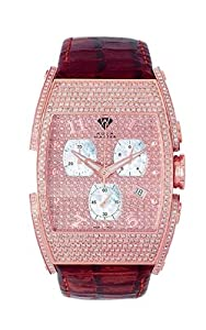 Aqua Master Men's Fancy Stainless Steel 3.65ctw Diamond Watch with Rose Diamond Cut Dial And Red Leather Strap W#86 image