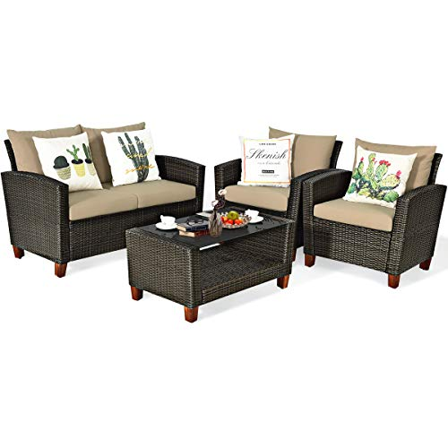 Tangkula 4-Piece Patio Rattan Furniture Set, Outdoor Wicker Conversation Set w/Seat & Back Cushion, Sofa Set w/Tempered Glass Coffee Table for Porch, Poolside, Backyard, Garden (Beige)