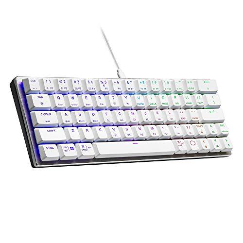 Cooler Master SK620 Mechanische Tastatur, 60% Silber-weiß, mit flachen blauen Schaltern, neuen und verbesserten Tastenkappen und gebürstetem Aluminium-Design.