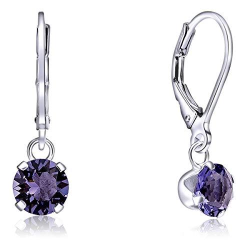 DTPSilver - Damen Klappbügel Ohrringe 925 Sterling Silber mit Kristallen von Swarovski® Elements 8 mm Runde - Farbe : Tansanit