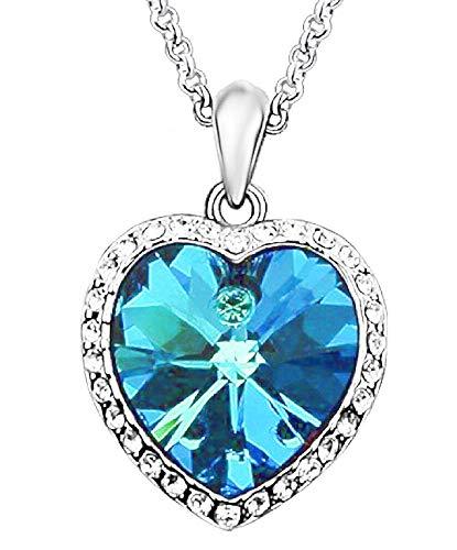 Hartketting - blauwe steen - hart van de oceaan - blauw - lichtpunten - glitter - origineel cadeau-idee - klein hartje - verjaardag - kerstmis - zilver - sieraden strass