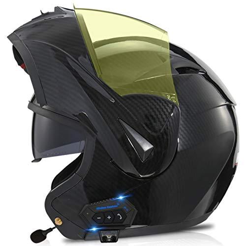 TKTTBD Casco De Moto Modular Bluetooth Integrado con Doble Anti Niebla Visera Cascos De Motocicleta ECE Homologado Auriculares con Dos Bocinas, Contestador Automático con Manos Libres Y,M