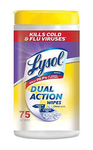 Lysol Dual Action Disinfecting Wipes, Citrus, 75 ct