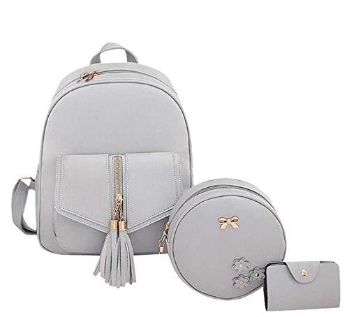 Alice Mochila de mujer 3 piezas Moda PU Cuero Bolsas de hombro Moda Señoras Travel Bookbag