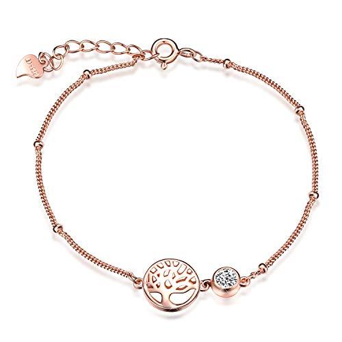 Unendlich U Damen Mädchen Allergenfrei 925 Sterling Silber Armband mit Lebensbaum Anhänger Zirkonia Armreif Armkette Verstellbar