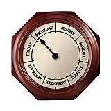 DayClocks Classic Day Clock – Day of the Week Clock - Fun Retirement Gift – Mahogany Wall Clock