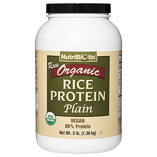 NutriBiotic Certified Organic Rice Protein Plain, 3 Pound | Low Carbohydrate Vegan Protein Powder | Raw, Certified Kosher & Keto Friendly | Made without Chemicals, GMOs & Gluten | Easy to Digest