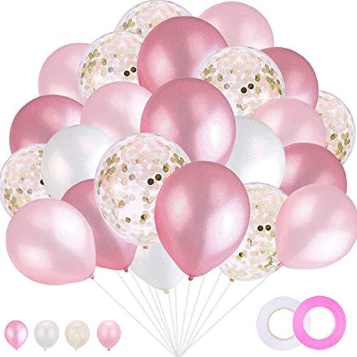 100 piezas Globos Latex variados Confeti Globos de Oro Rosa para Bebe Año Cumpleaños,Niño Bautizos Comunion Baby Shower Azul,Bodas Aniversario Graduacion Fiesta Arco Decoracion (Rosado)