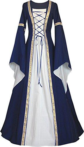 Dornbluth Damen Mittelalter Kleid Anna Ray Made in Germany (36/38 kurz, Marine-Ecru)