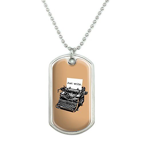 GRAPHICS & MORE Just Write Antique Typewriter Writer Author Military Dog Tag Pendant Necklace with Chain