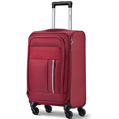 Merax Spinner Soft Shell Luggage Super Lightweight Suitcases 4 Wheels(20/24/28/SET of 3) (Small (20 inch), Red)