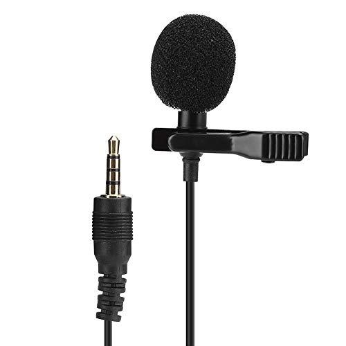 Pusokei Micrófono de Solapa, Mini micrófono multifunción con Clip para Cuello, micrófono de Solapa Manos Libres con Condensador omnidireccional, para Canto/transmisión en Vivo/grabación/entrevista