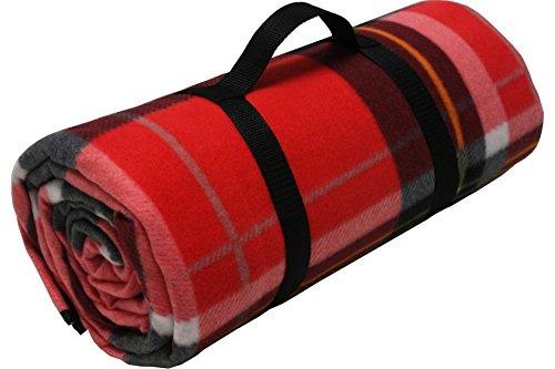 ADVENTURE OUTSIDE Picknick Decke XXL Fleece 200 x 200 cm Rot kariert Camping
