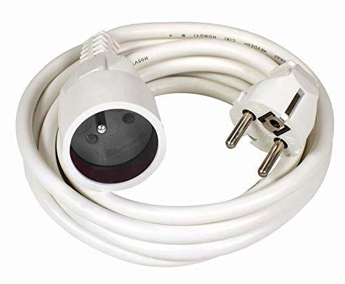 Voltman DIO013121 - Cable alargador eléctrico con 4 enchufes y alargador de película Ho5Vvf 3G1,5 (5 m), color blanco