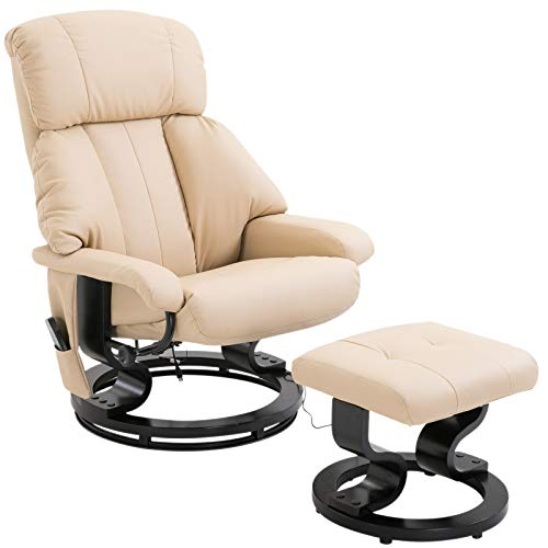 HOMCOM Recliner Sofa Electric Massage Chair Sofa 10 Massager Heat with Foot Stool - White
