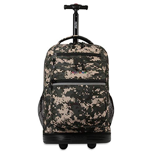 J World New York Sundance Rolling Backpack and Laptop Bag, Green Camo