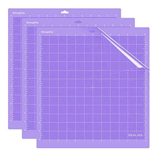 REALIKE Starkergriff-Schnittmatte für Silhouette Cameo 3/2/1,12x12 Zoll 3er-Pack Klebstoff klebrig Schneidematte 3er-Pack Flexibler rutschfester Ersatz Vinyl Schneidematte zum Basteln