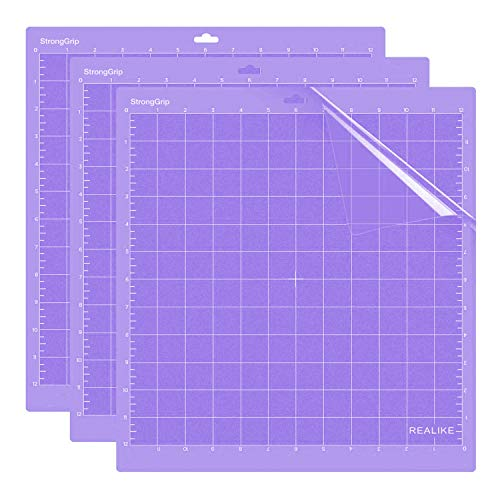 REALIKE 12x12 StrongGrip Cutting Mat for Cricut Explore One/Air/Air 2/Maker(3 Mats), Gridded Adhesive Non-Slip Cut Mat for Crafts, Quilting, Sewing and All Arts