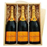 Veuve Clicquot Yellow Label Brut Champagne in Wooden Box NV 3 x 75cl (Case of 3)