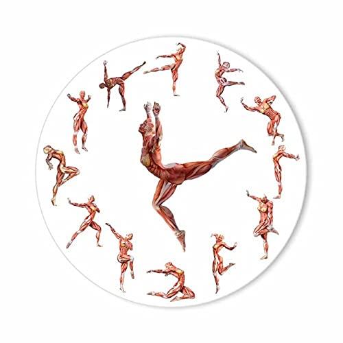 hufeng Reloj de Pared Muscle Anatomical Man Novedad Reloj de Pared Obra médica Bailarina de Ballet Anatomía del hogar Yoga Dancer Pose Silent Sweep Clock